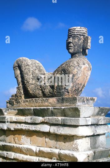 mexico yucatan quintana roo chac mool rain god statue idol maya symbol - Stock Image
