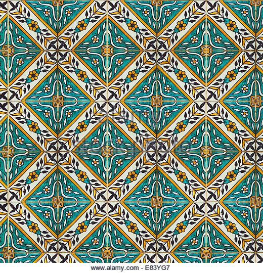 Backgrounds and textures of Intricate ceramic tile design in a repeating pattern. - Stock-Bilder