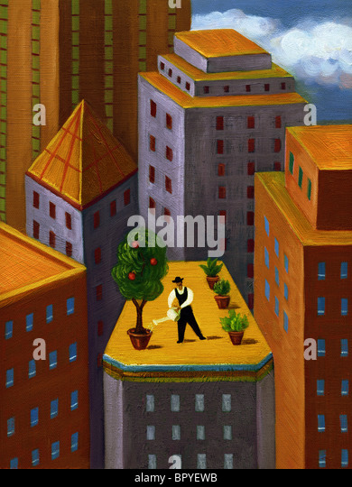 A man watering a garden on top of a high rise building in the city - Stock Image