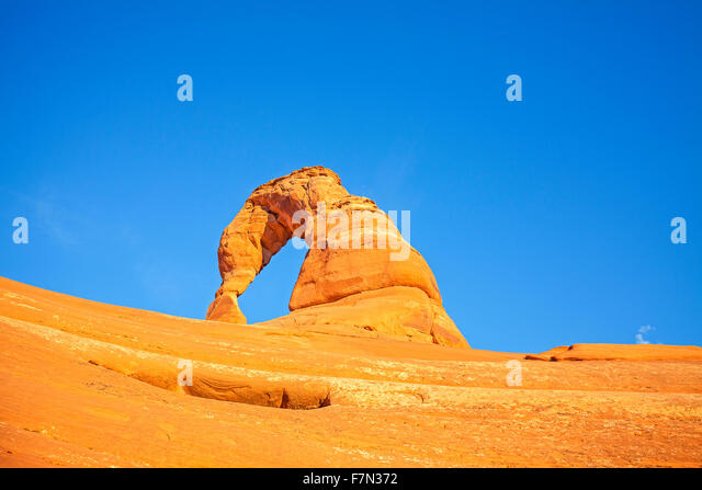 Delicate Arch at sunset, Utah, USA. - Stock Image