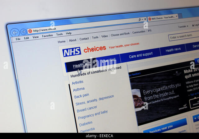 NHS choices webiste - Stock Image