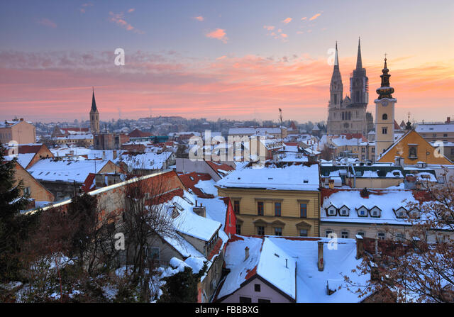 Panorama of Zagreb in winter. Cathedral on the back of the picture. - Stock-Bilder