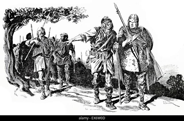 Saxon warriors depicted in a book illustration - Stock-Bilder