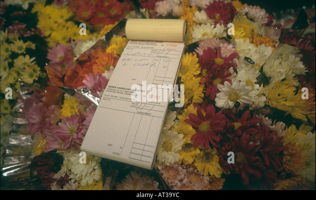 Receipt book with flowers at New Covent Garden Market is the largest wholesale market in UK - Stock Image