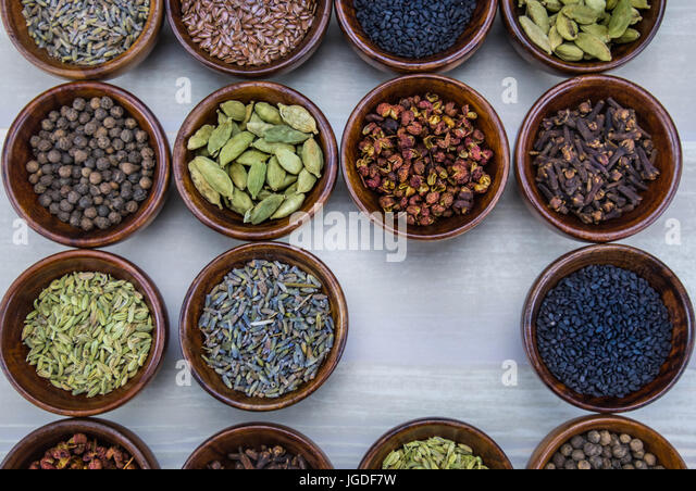 Spices with Empty Space in lower right corner - Stock Image