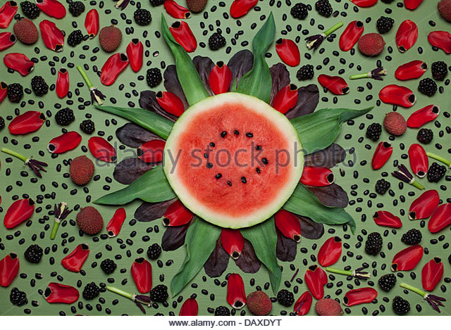 Overhead view of floral  arrangement of flowers and vegetables - Stock Image