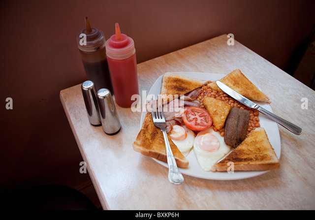English breakfast on a cafe table - Stock-Bilder