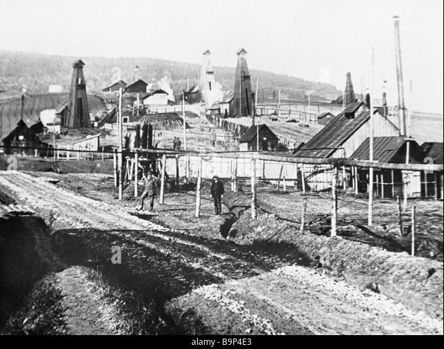 View of the Ukrainian Borislav city in the early 20th century - Stock Image