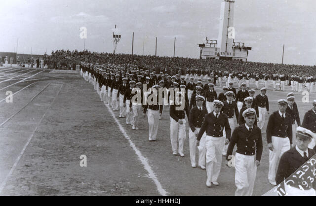 2nd Maccabiah Games (Aliyah Olympics), Tel Aviv, 2-10 April 1935.  Athletes taking part in the opening ceremony - Stock Image