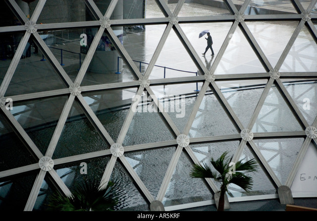 Glass and metal structures in entrance hall, Science and Technology Museum, Century Square, Lujiazui, Shanghai, - Stock Image