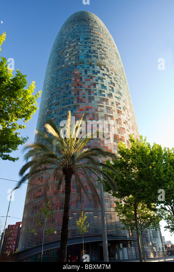 The Torre Agbar, modern office building, Barcelona Spain - Stock Image