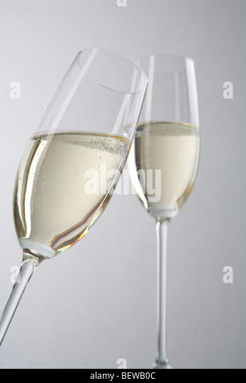 two champagne glasses - Stock Image