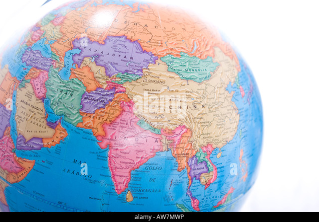 World Map globe showing Asia continent isolated on white background - Stock Image
