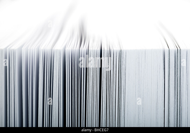 Macro image of pages in a book - selective focus - Stock Image
