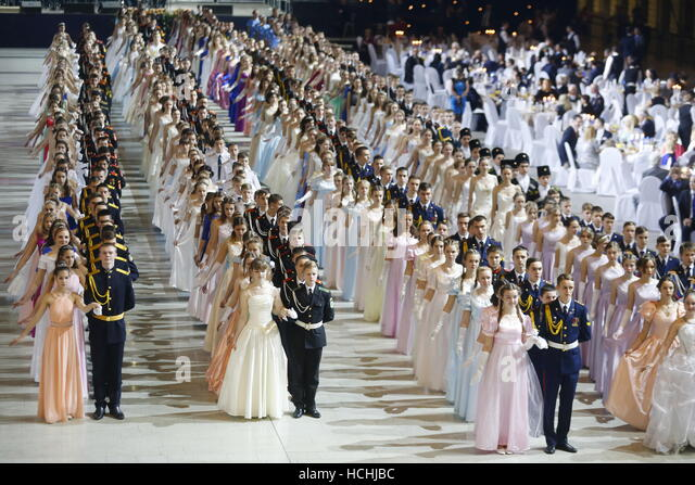 Moscow, Russia. 8th Dec, 2016. Cadets in uniform and girls in evening gowns take part in the International Kremlin - Stock Image