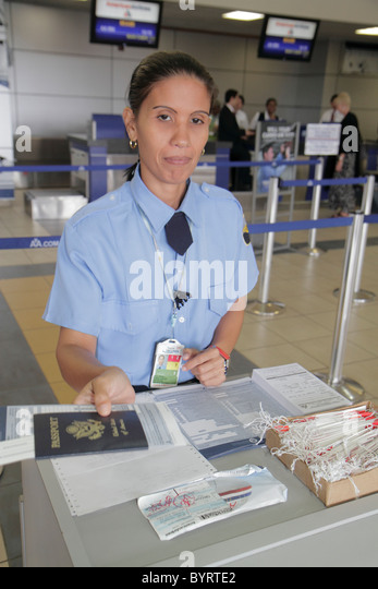 Panama City Panama Aeropuerto Tocumen airport PTY aviation terminal international flight security check-in Hispanic - Stock Image