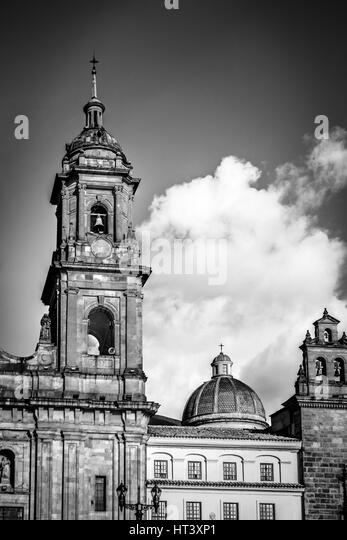 Black and white detail of Bogota Cathedral - Bogota, Colombia - Stock Image