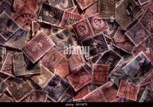Random world stamps - Stock Image