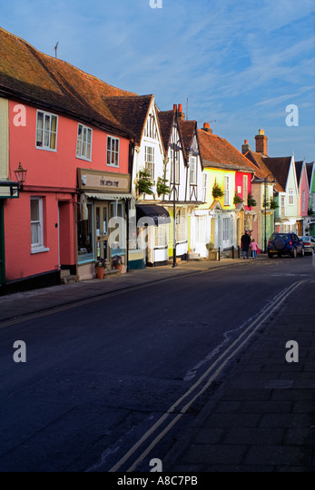 Colourful Theater Street Houses Woodbridge Suffolk England - Stock Image