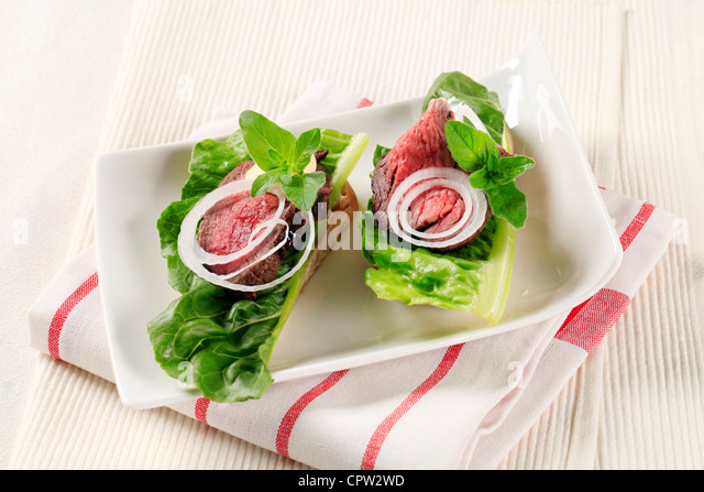 Roast beef open faced sandwiches - Stock Image