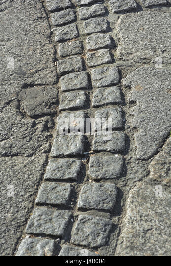 Section of pavement granite cobbling in Truro, Cornwall. - Stock Image