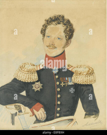 Portrait of Yegor Fyodorovich Meiendorf (1794-1879). Artist: Alexeyev, N.M. (active First Half of 19th cen.) - Stock Image