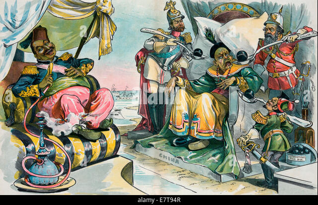 Misery Loves Company - The Sultan - Allah be praised! - Now that they've got another Sick Man, maybe they will - Stock Image