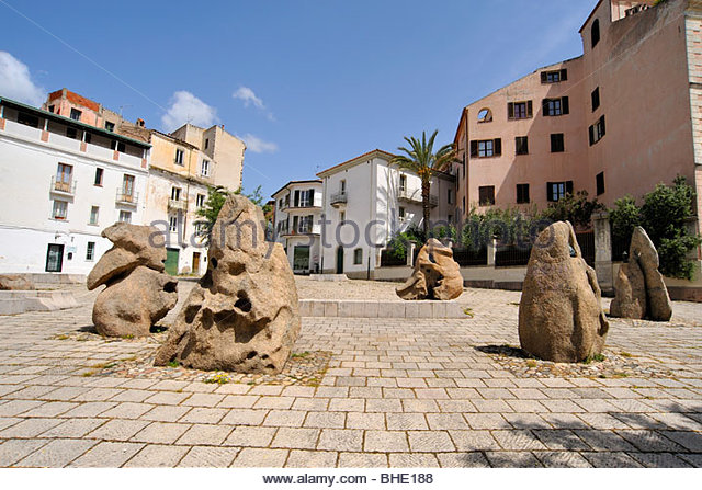 piazza sebastiano satta, nuoro, sardinia, italy - Stock Image