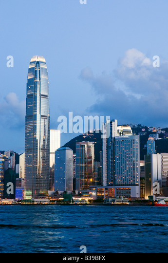 'The skyline of the Central Business District of Hong Kong Island on a clear night in Hong Kong ' - Stock Image