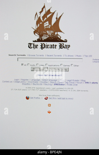 theprivatebay download music movies games software - Stock Image