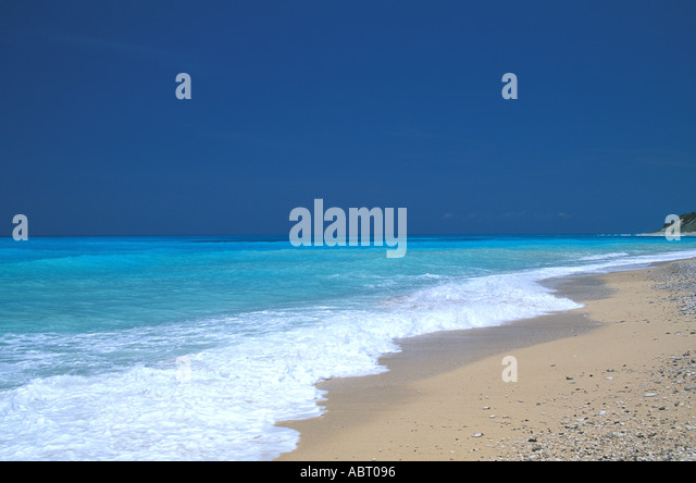 Tropics deserted beach - Stock Image