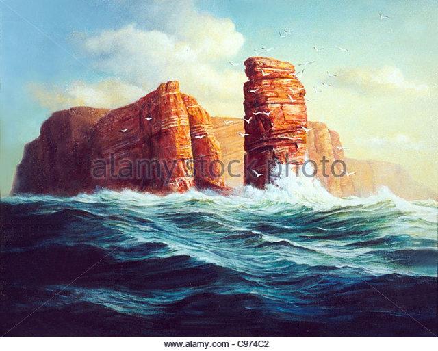 Island Helgoland lgemlde - Stock Image