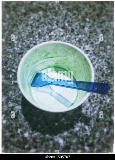 Empty ice cream tube. - Stock Image