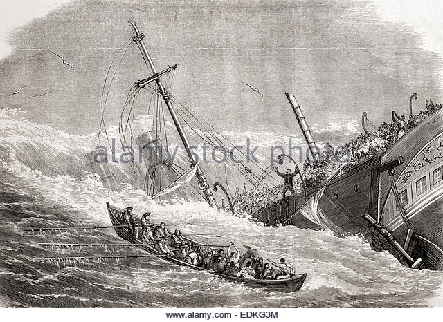 The sinking of the SS London in the Bay of Biscay on 11 January 1866, en route from Gravesend in England to Melbourne, - Stock-Bilder