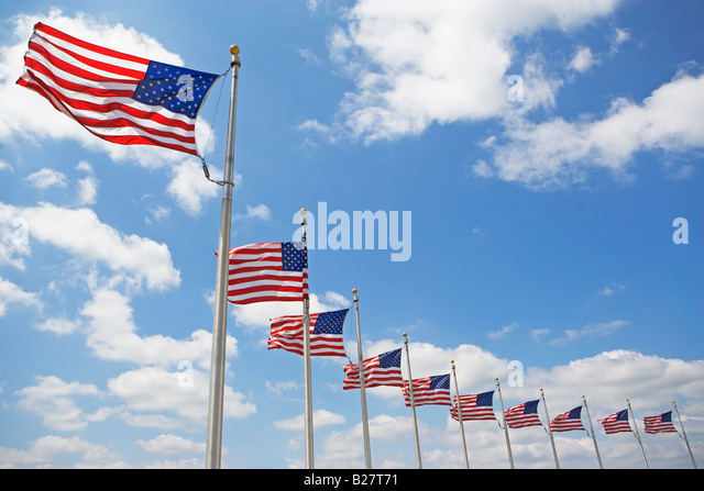 Low angle view of American flags - Stock-Bilder