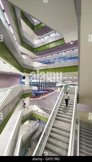 Overall view of full-height atrium with staircase. Singapore University of Technology and Design, Singapore, Singapore. - Stock Image