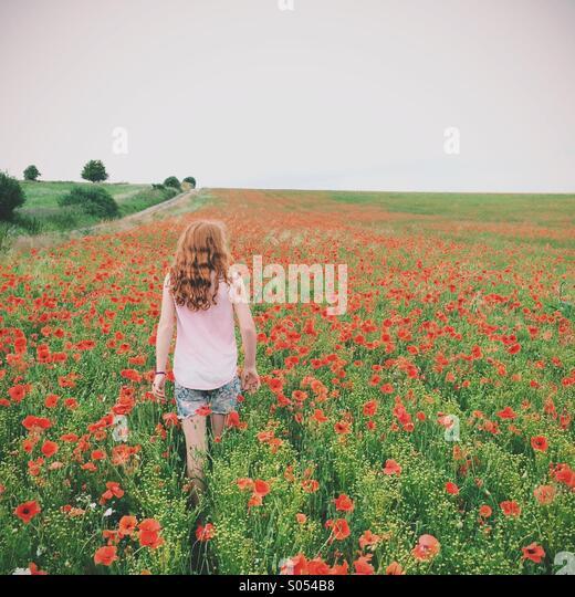 Girl in a poppy field - Stock-Bilder