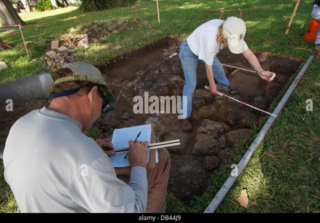 Archaeological dig, St. Augustine, Florida, USA - Stock Image