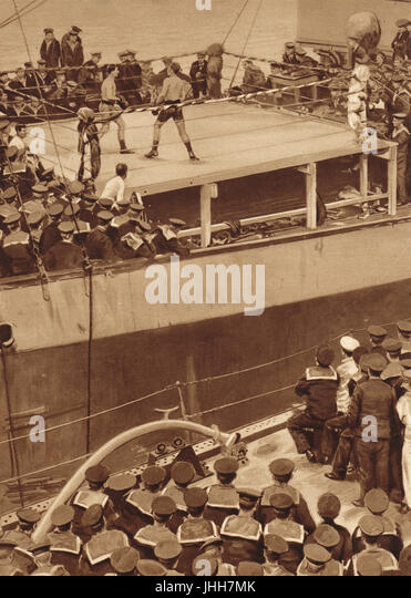 Boxing match on a warship of the Grand Fleet in WW1 - Stock Image