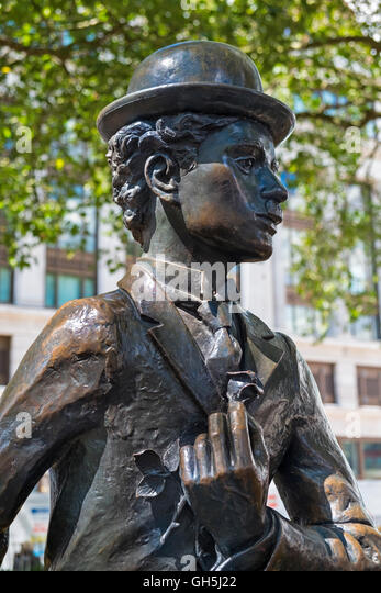 Charlie Chaplin statue Leicester Square West End London UK - Stock Image