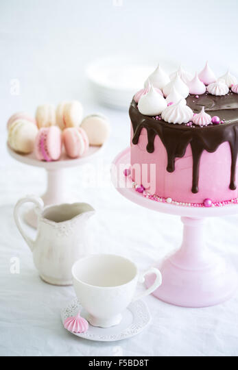 Afternoon tea and cake - Stock Image