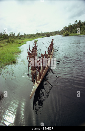Bagair, canoes, Irian Jaya, Indonesia, Southeast Asia - Stock Image