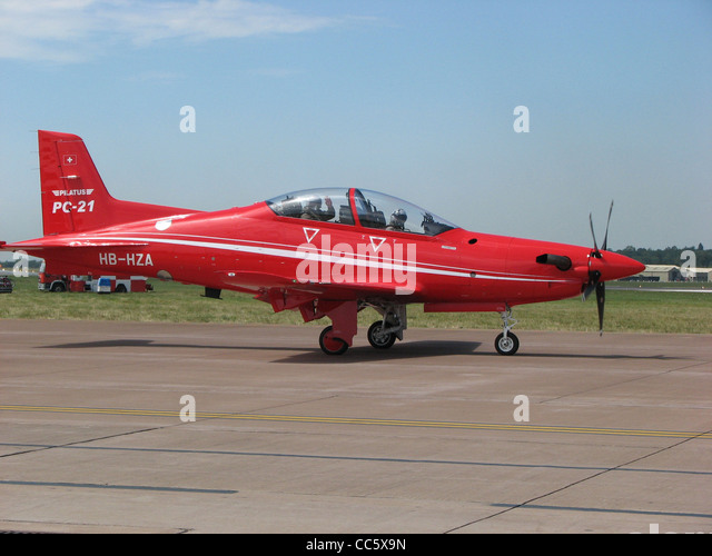 Pilatus PC-21 (HB-HZA) taxiing for takeoff at the Royal International Air Tattoo, Fairford, Gloucestershire, England. - Stock Image