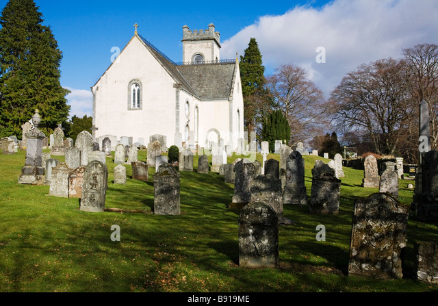 The village church from the graveyard at Kenmore, Perth and Kinross, Scotland. - Stock Image