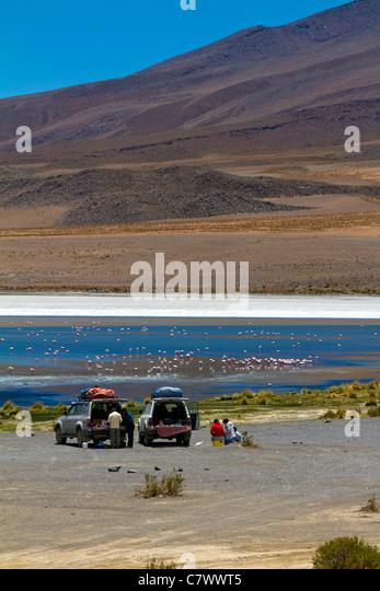 The stunning scenery of Reserva de Fauna Andina Eduardo Avaroa, Bolivia - Stock Image