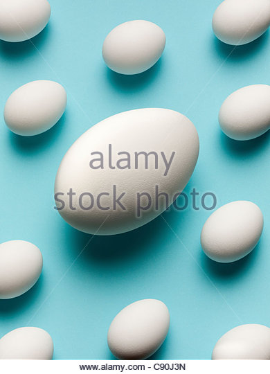 Smaller eggs surrounding large egg - Stock Image