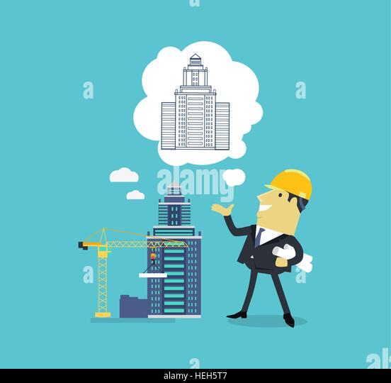 Character of Architect with a New Project. Character of architect with a new project. Successful architect is thinking - Stock-Bilder