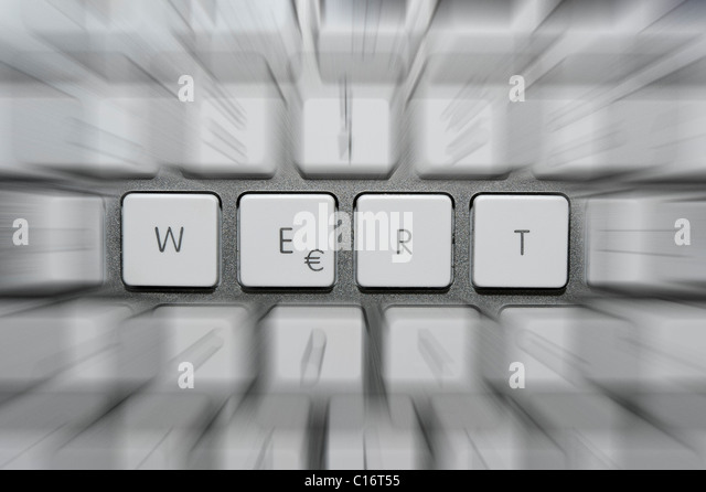 Lettering 'WERT', German for 'value', with EURO-symbol on keyboard, symbolic picture - Stock Image