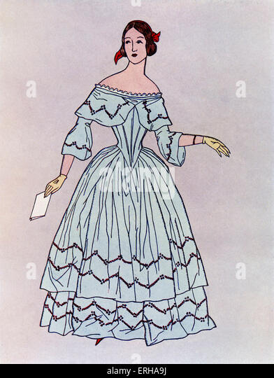 Lady in a mid-19th century dress, popular c.1844. Widening from the waist downwards, such dresses were made up of - Stock-Bilder