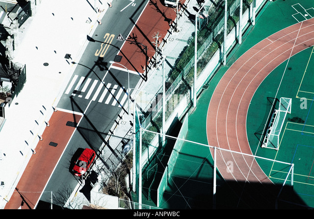 An overhead shot of a race track - Stock Image